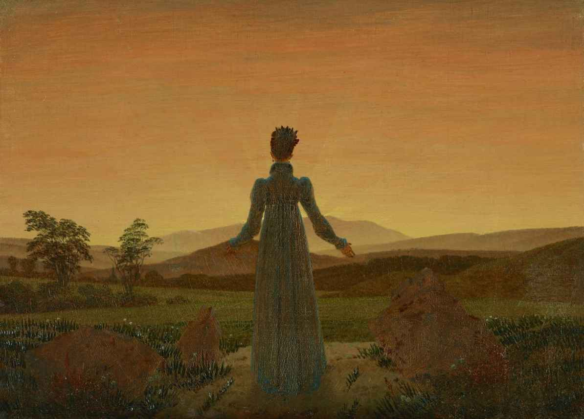 Bild: Caspar David Friedrich - Frau von der auf- oder untergehenden Sonne, um 1818, Museum Folkwang Essen, Artothek