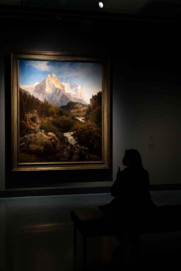 Die Entdeckung der heimatlichen Landschaft (Teil VI der Ausstellung) - wandfüllendes Bild Das Wetterhorn von Johann Wilhelm Schirmer