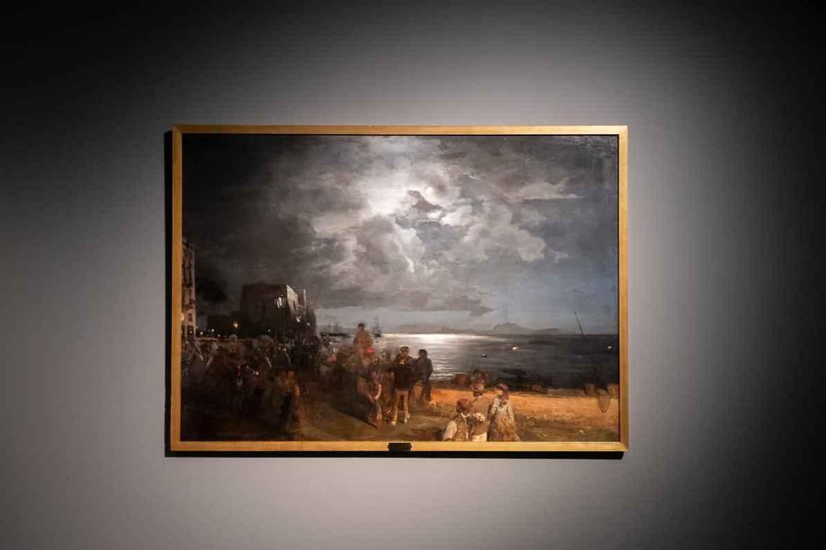 Bild von Oswald Achenbach - Blick von Neapel auf Ischia, Privatbesitz in der Ausstellung Caspar David Friedrich & die Düsseldorfer Romantiker im Kunstpalast Düsseldorf