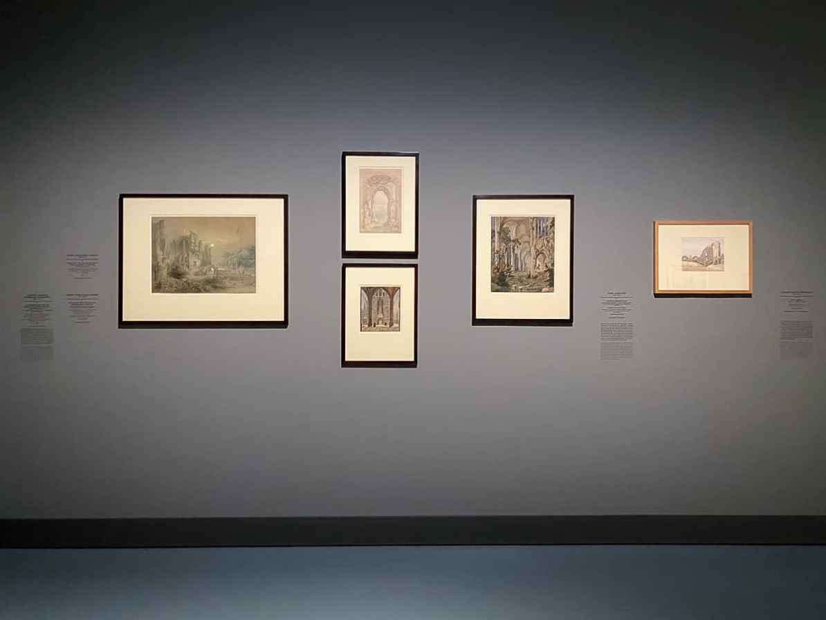 Naturstudien, Zeichnungen von Caspar David Friedrich, 5-Bilder-Hängung im Kunstpalast, Düsseldorf
