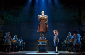 Bryce Ryness, Mabel Tyler, and the cast of Matilda Photo by Joan Marcus Matilda National Tour