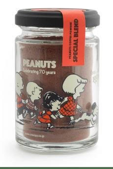 スヌーピーのコーヒー70周年記念パッケージ