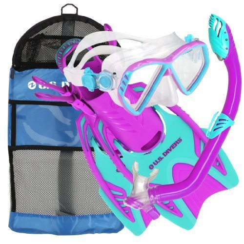 U.S. Divers Junior Regal Mask, Trigger Fins and Laguna Snorkel Combo Set, Fun Purple, Large/X-Large