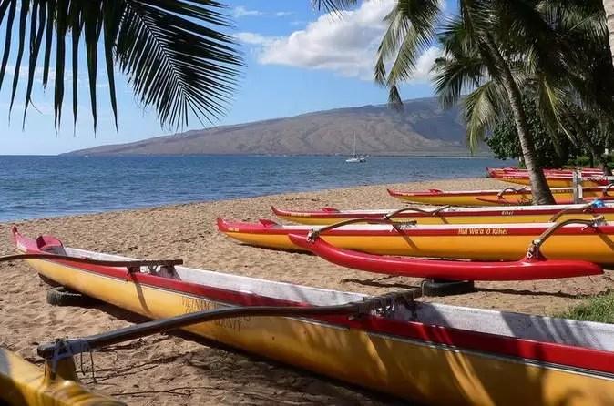 canoes on a beach in Maui