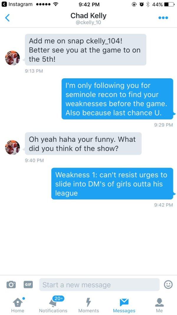 Chad Kelly slides in Mia Khalfia's DM's