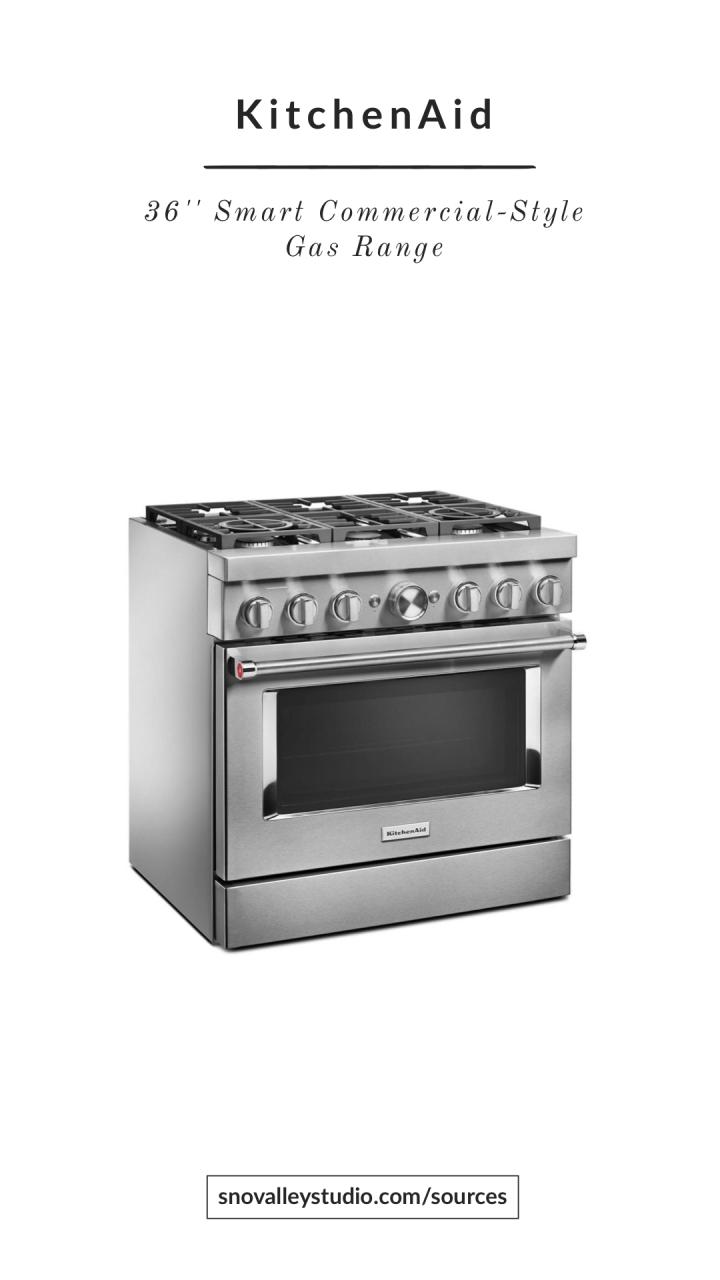 "Range: KitchenAid – 36"" Smart Commercial-Style Gas Range with 6 Burners"