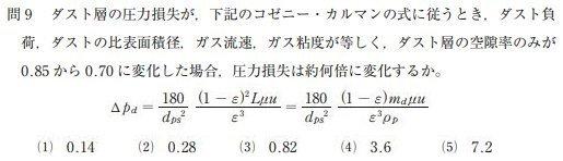 ばいじん・粉じん特論 平成28年問9。与えられた前提条件をもとにコゼニーカルマンの式を用いて圧力損失の変化量を問う問題。