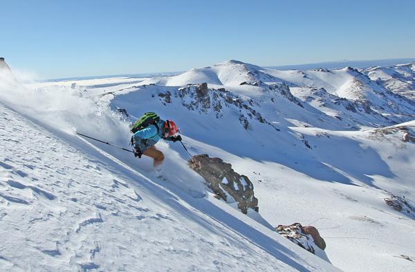 Owain Price skiing at Mallin Alto