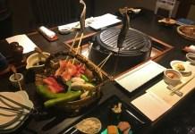 Kensaki-yaki 'sword grilling' barbecue Tatsumikan, Minakami