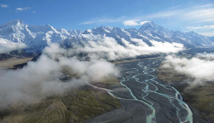 Flying towards Mt Cook with Mt Cook Heliski