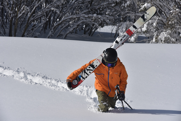 Searching for secret powder stashes at Hotham