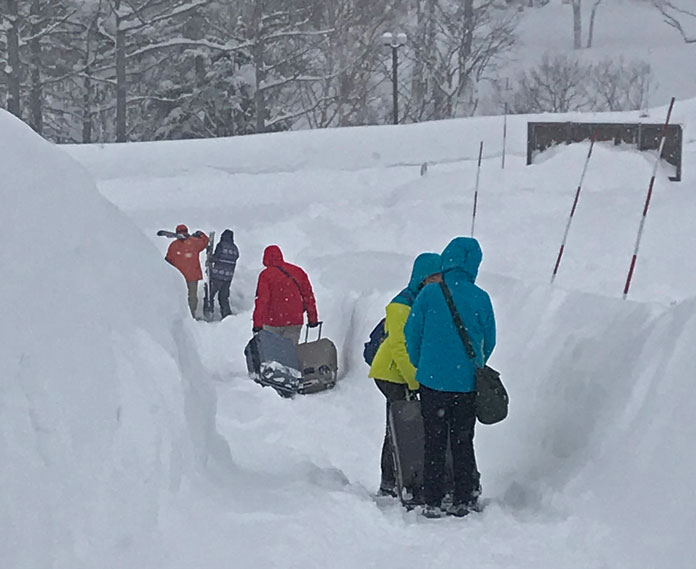 Deep snow at the entrance to Shiga Kogen Prince Hotel West