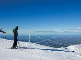 skier view top of Mt Hutt
