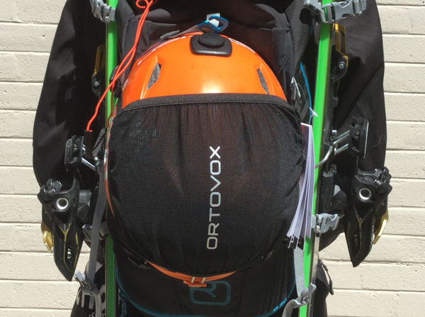Ortovox Traverse pack with helmet net on