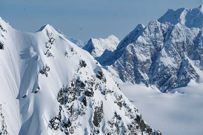 Insanely steep terrain Points North Heliski Alaska