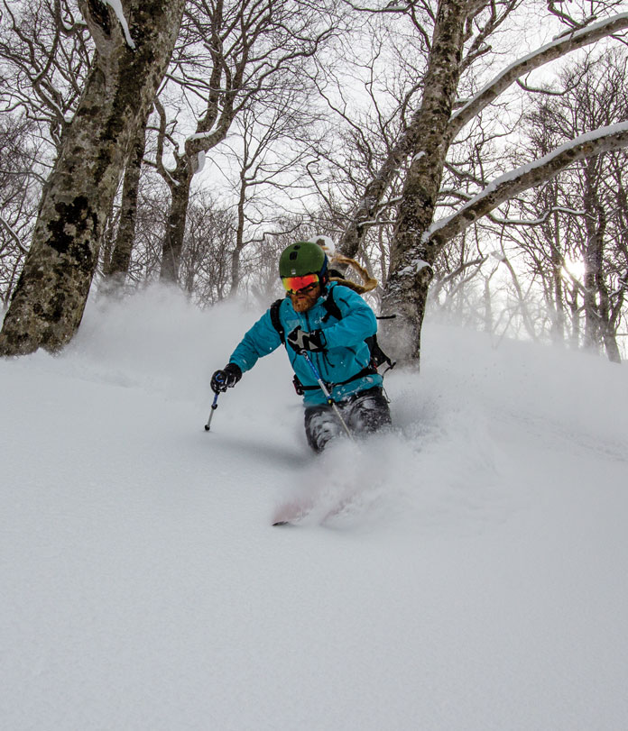 Mike Harris tree skiing at Tanigawadake Tenjindaira