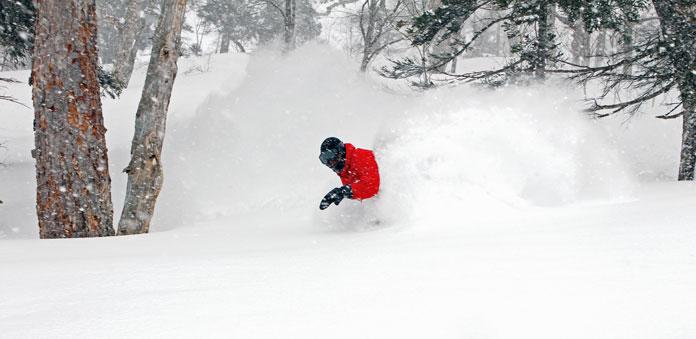 Riding waist deep snow at Kagura