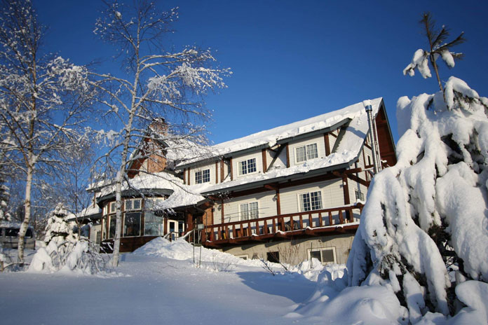 View of snow covered Clubman Lodge Hachimantai, Iwate, Japan