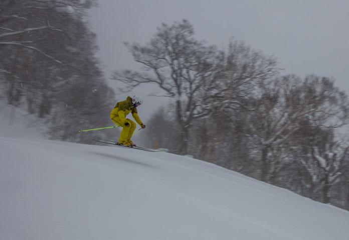 Skiing the empty groomed courses at Hachimantai Shimokura Ski Resort