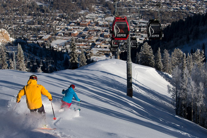 Skiing back to town at Aspen