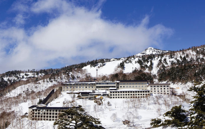 View of Manza Prince Hotel, Japan's highest hotel, in winter
