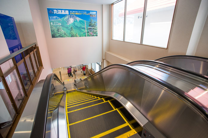 Escalators make it easy to get from car park to the slopes level at Marunuma Kogen