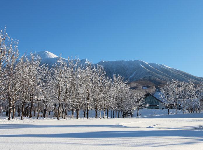 Hachimantai Mountain Hotel & Spa winter view toward Mt Iwate