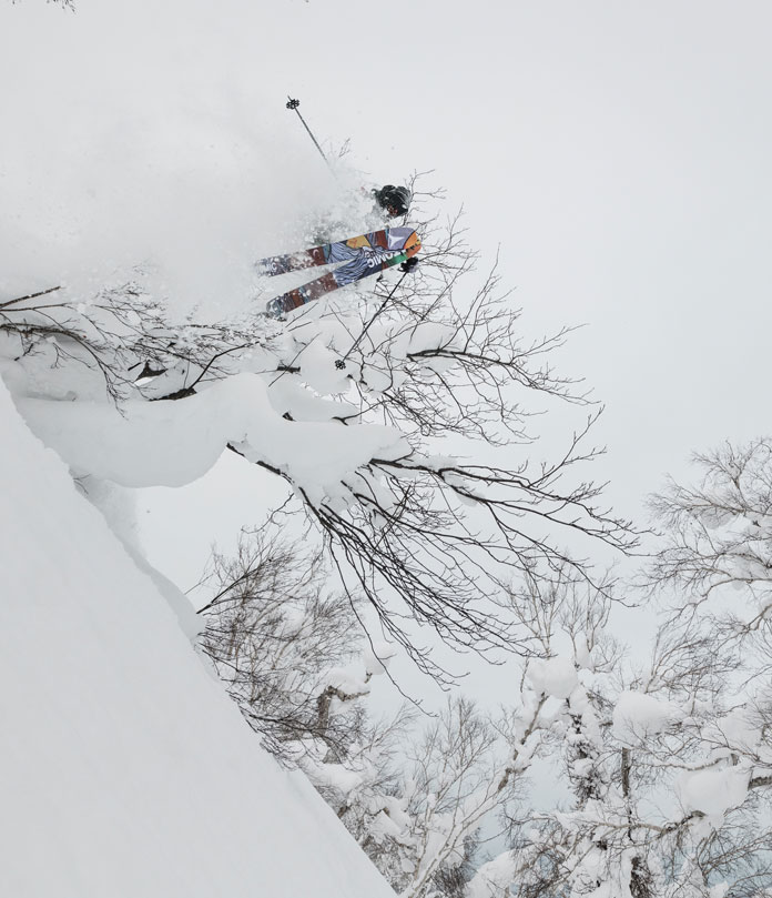 Big air of a tree feature at Kiroro