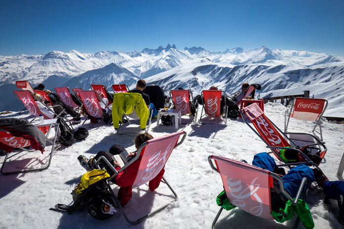 Deckchiar relaxing sunny day in Savoie Alps