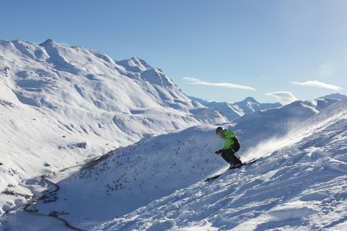 Charging off piste at Livigno family ski holiday paradise