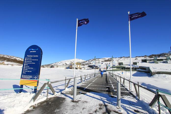 Crossing the bridge at Perisher day 1 of 2019 ski season