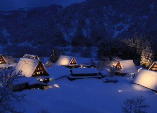 Gokoyama's World Heritage village of Suganuma at night