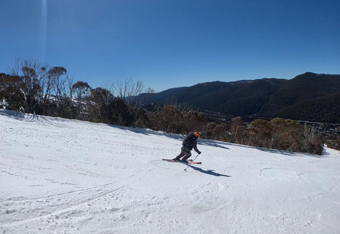Carving the piste at Thredbo in a pair of Rossignol AllTraack Pro 120LT boots