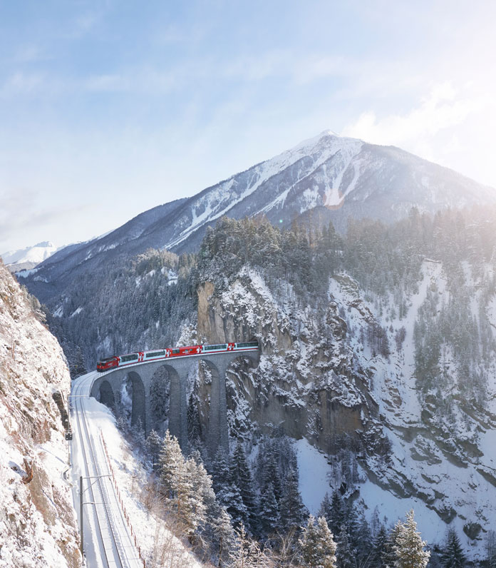 The Landwasser Viaduct is an engineering highlight of the Glacier Express