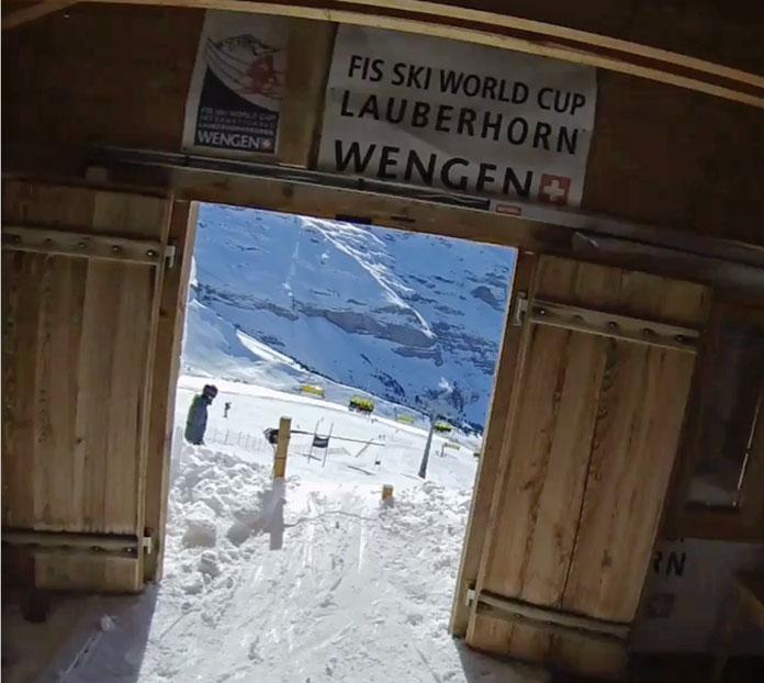 Inside start gate of the Lauberhorn at Wengen in the Jungfrau region