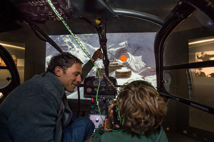 Helicopter exhibit at Schilthorn Piz Gloria Bond World
