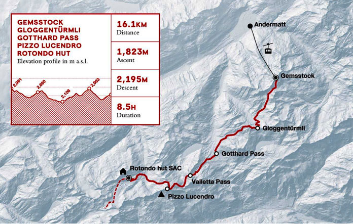 Swiss Ski Tour route day 1 from Andermatt to Rotondo Hut