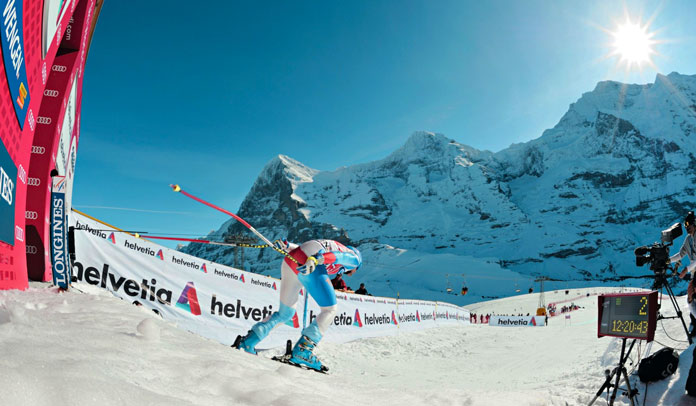 The scenic start of the Lauberhorn World Cup race at Wengen