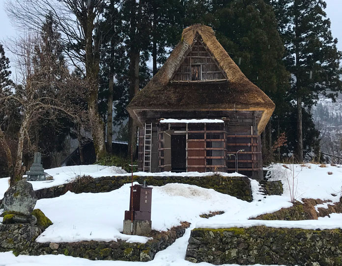 Gassho thatch roof house, Ainokura Nanto City near Taira ski area