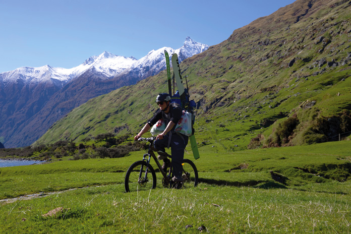 To ski Mt Aspiring first you have to bike up the Matukituki Valley