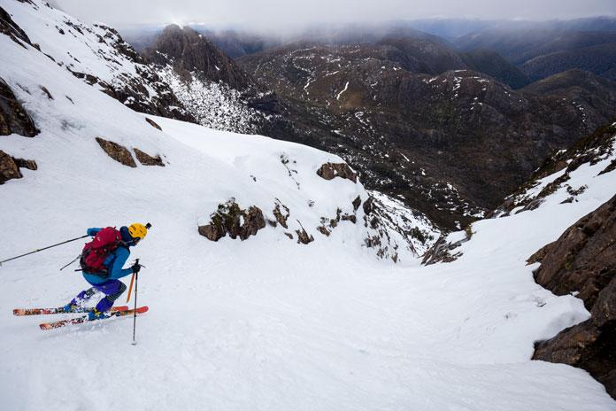 Skiing the Cradle Mountain Couloir, Tasmania