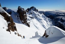 Hiking to ski Cradle Mountain's East Face Bowls