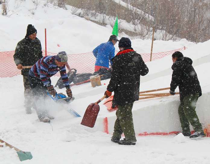 Shaping World Cup jumps with chainsaws Harbin northern China
