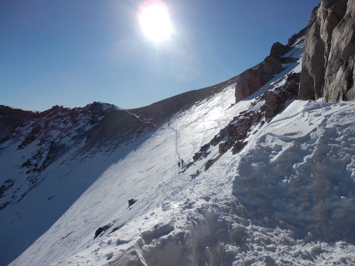 Sketchy skin track out of Van Titer, Bariloche sidecountry skiing