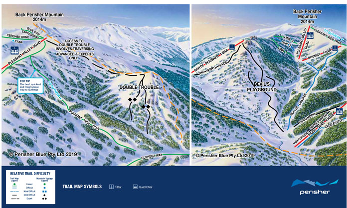 Perisher Trail Map Double Trouble and Devil's Playground insets