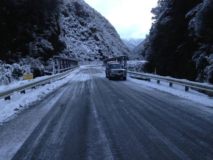 Arthurs Pass route in winter heading up from Otira