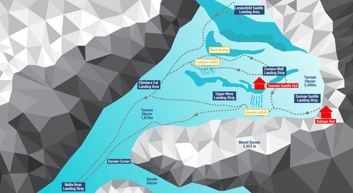 Ski The Tasman Glacier ski runs map
