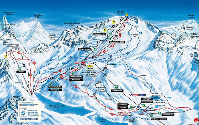 Mölltaler Gletscher winter ski map