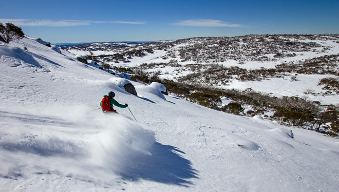 Powder skiing Mount Wheatley, Perisher