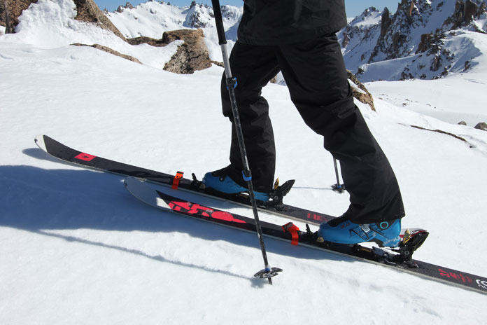 Skinning in Patagonia using Skeats Skin Cleats for better traction